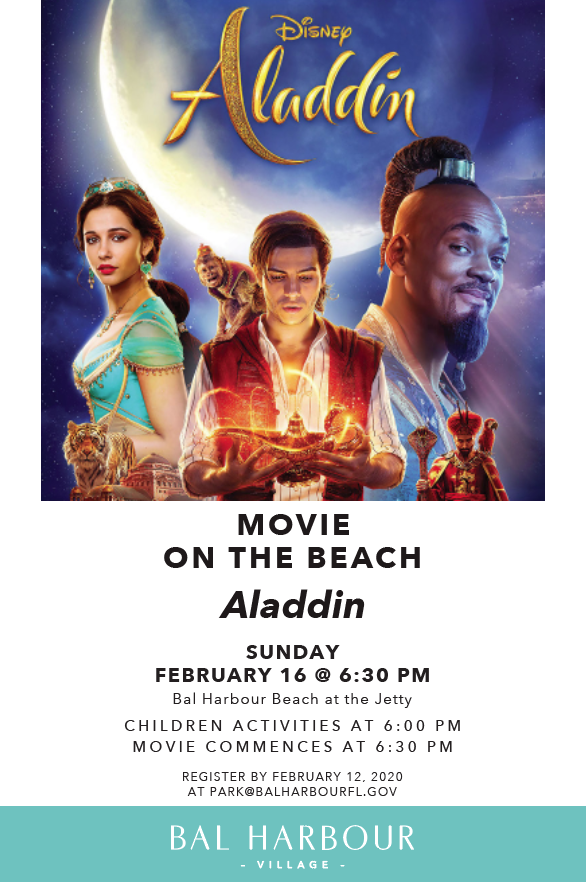 Movie on the Beach event flyer with image of Disney's Aladdin Poster