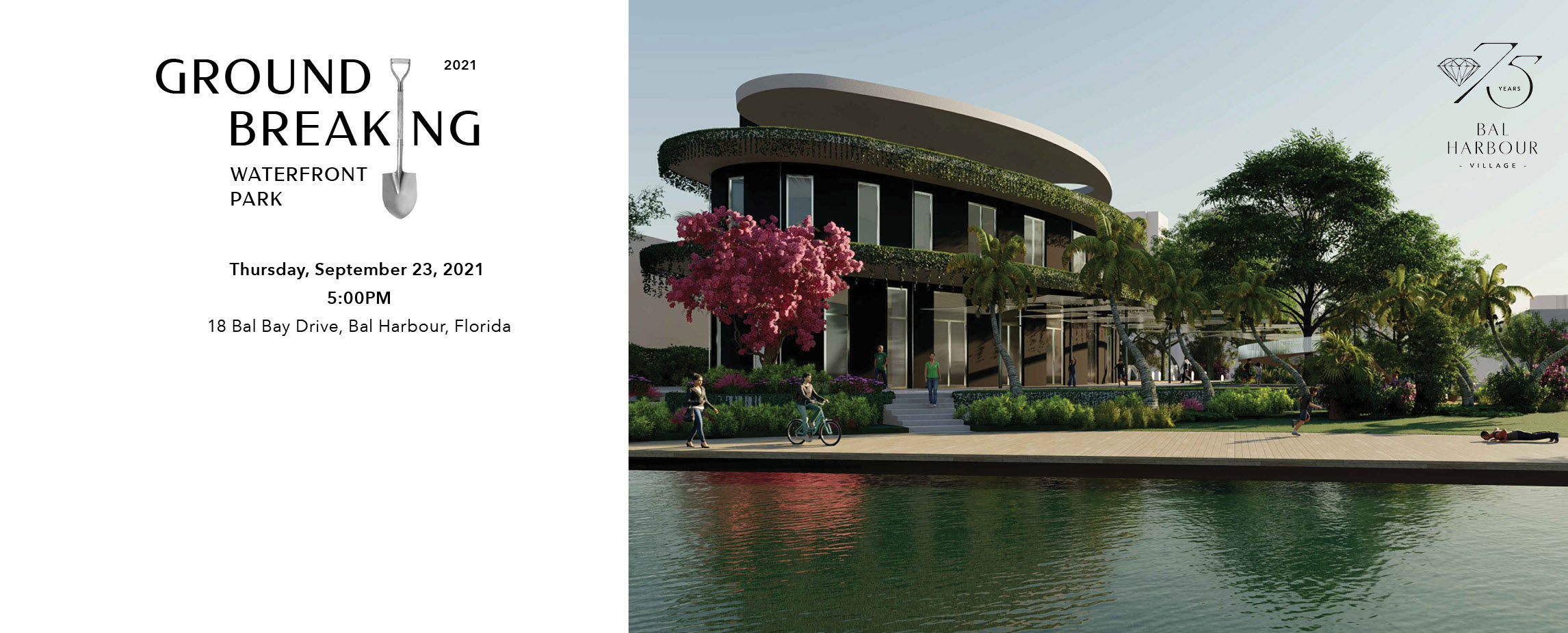 Waterfront Park image with invitation to groundbreaking on Thursday September 23 at 5pm